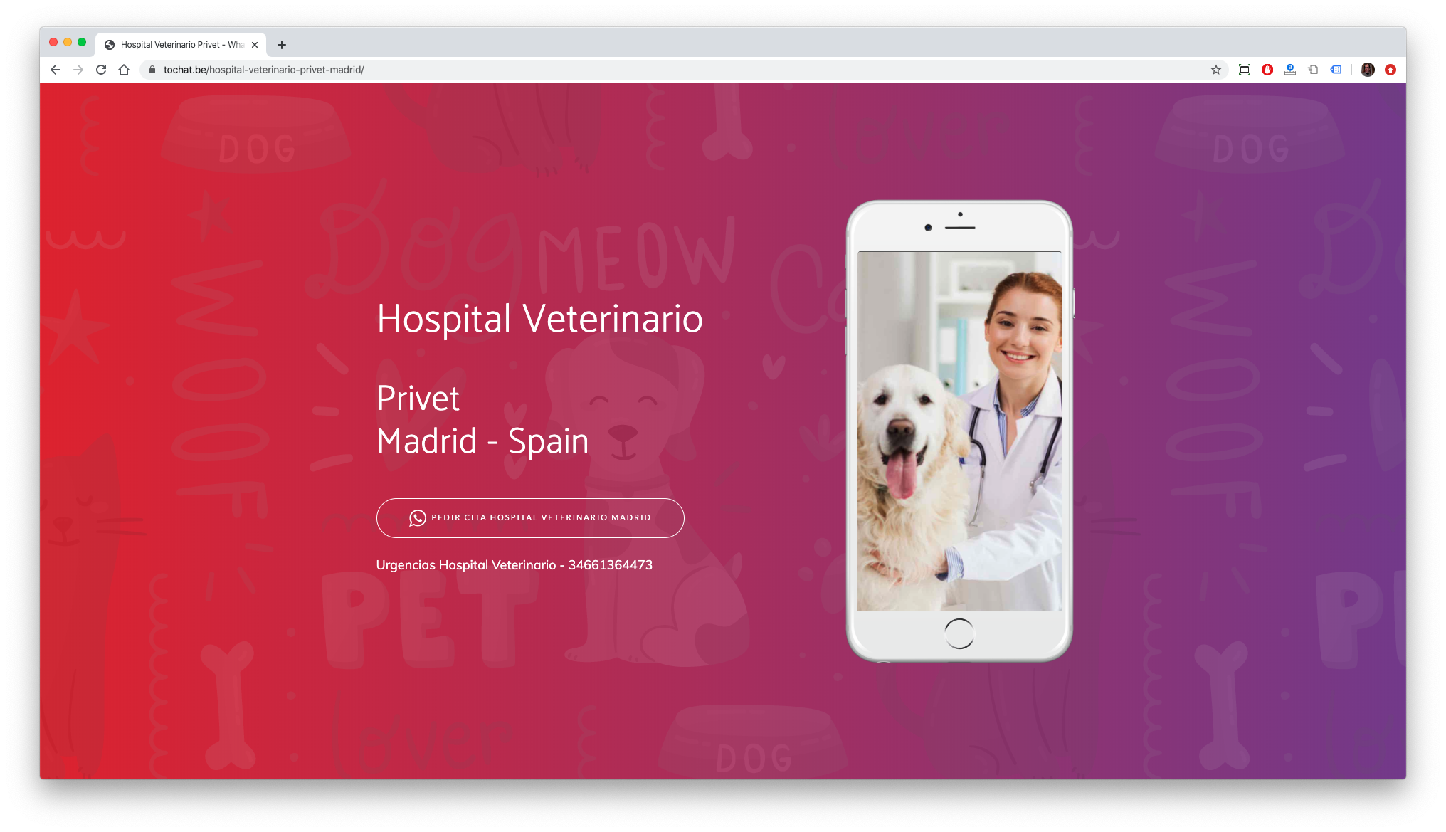 create landing page for vets and pets hospital