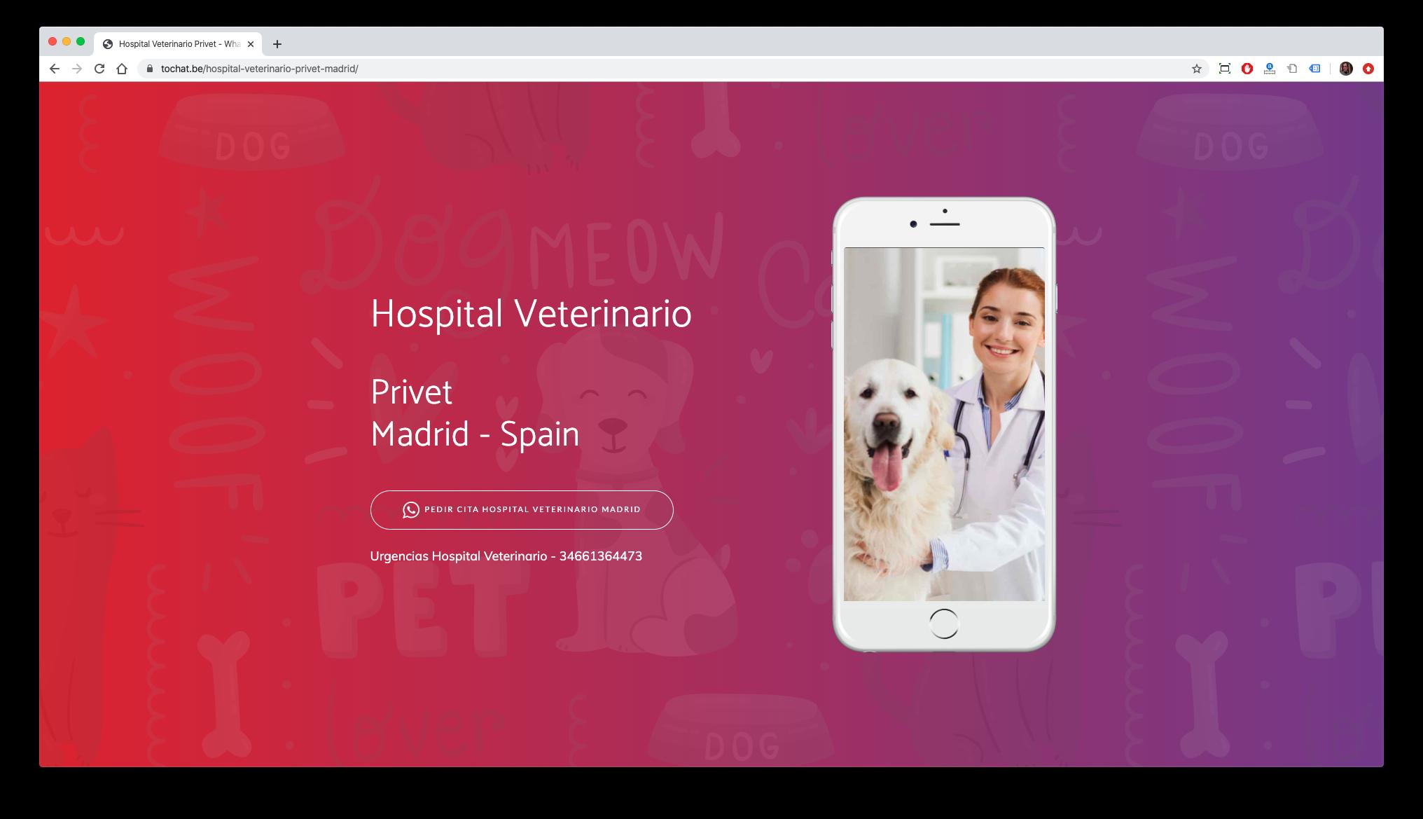 crear página de destino para el hospital de veterinarios y mascotas