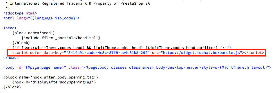 script en presta shop 1.7