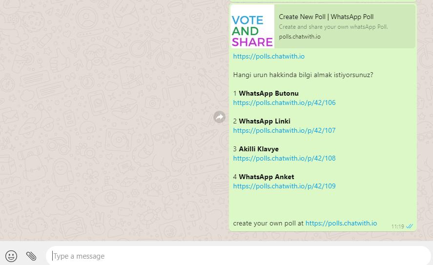 whatsapp anket urun