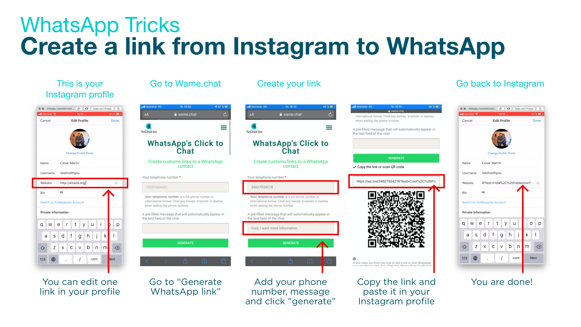 how to create your link from instagram to whatsapp